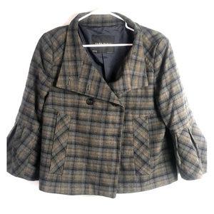 Large Zara wool tweed blazer cap sleeves plaid